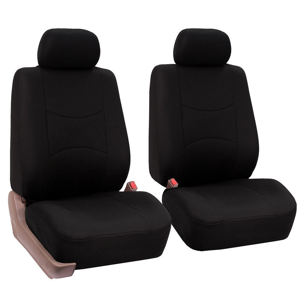 4pcs/set Universal Car Front Seat Cushion Cover + Head Cushion Cover Breathable Cloth Seat Cover Pad Set Black
