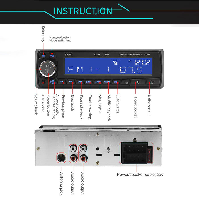 12V Bluetooth USB / SD / AUX MP3 Player Radio Car Electronic Stereo Audio Single FM Handsfree Music Car CD Player
