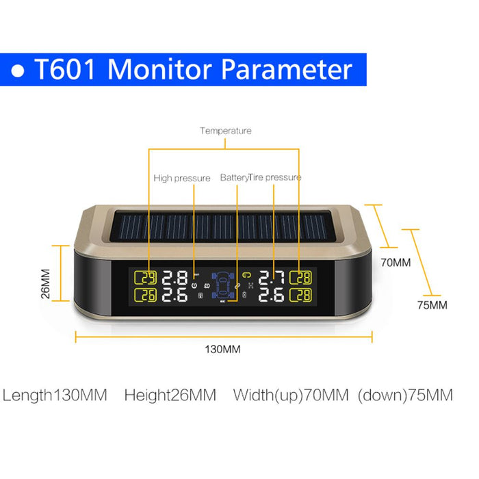 T601-WF TPMS Sensor Tire Pressure Monitoring System Power Universal Wireless Real-time Displays 4 Tire (External)