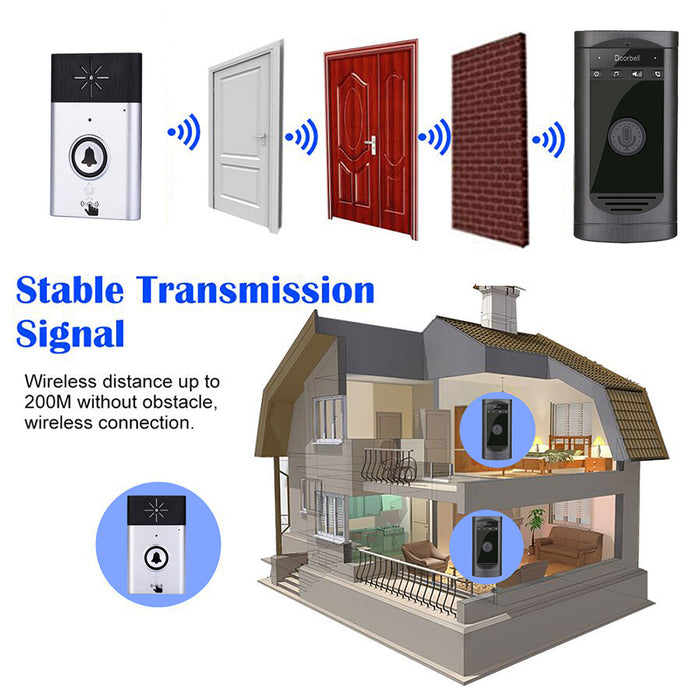 Wireless WiFi Voice Doorbell Smart Door Phone Intercom Monitor Silver