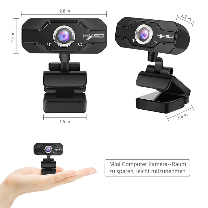 1080P Webcam - CMOS Image Sensor, Wide Angle Lens, Build-in Microphone, Plug and Play