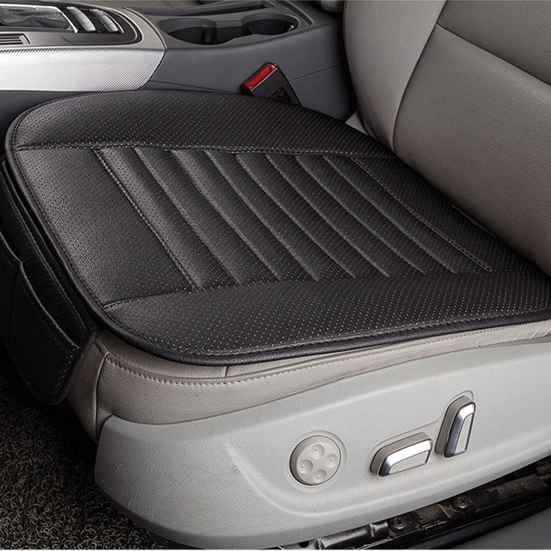 Black Breathable PU Leather Bamboo Charcoal Car Interior Seat Cover Cushion Pad for Auto Supplies Office Chair