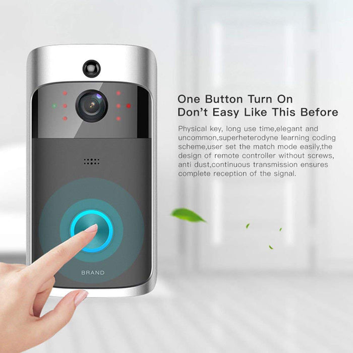 Silver Black Mini Smart Video Wireless WiFi DoorBell IR Visual Camera Record Home Security System