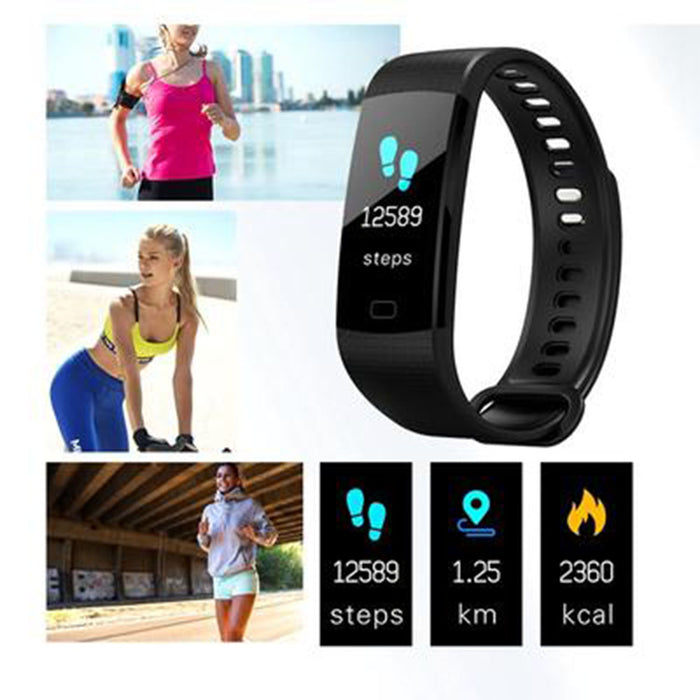 Blue Smart Bracelet Color Screen Smart Wristband Heart Rate Activity Fitness Tracker Smart Band
