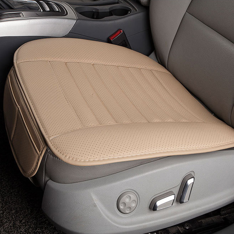 Beige Breathable PU Leather Bamboo Charcoal Car Interior Seat Cover Cushion Pad for Auto Supplies Office Chair