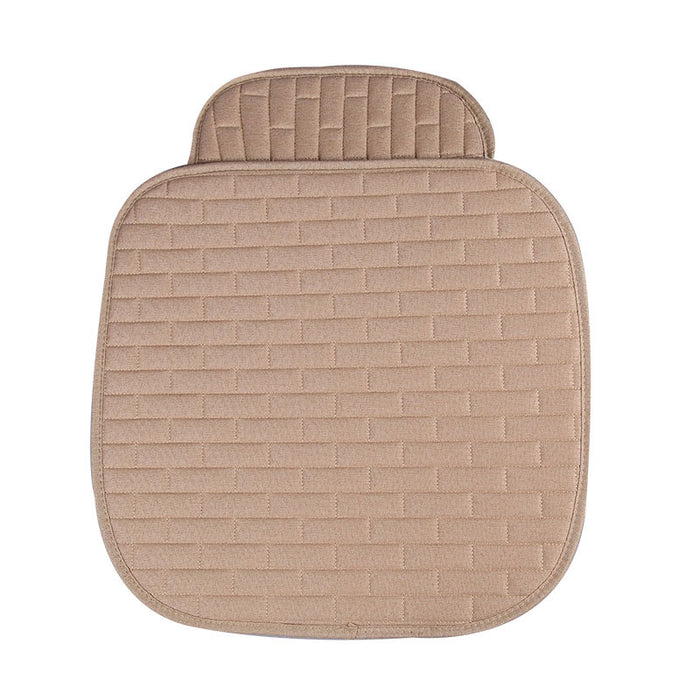 Breathable Flax Car Front Seat Cushion Car Interior Seat Cover Cushion Pad for Auto Supplies Beige 2pcs