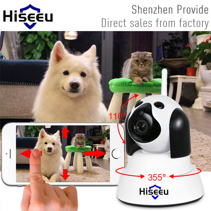Home Security IP Camera Wi-Fi Wireless Smart Pet Dog Camera 720P Night CCTV Indoor Baby Monitor White (European regulations)