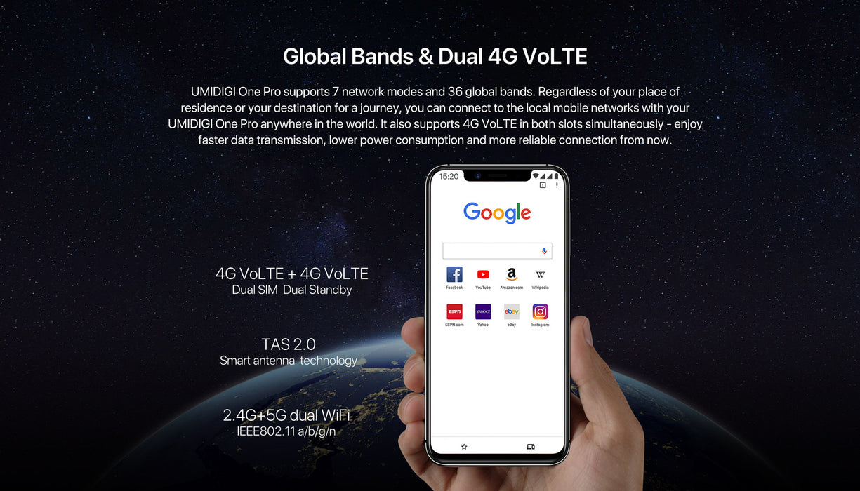 "Colorful UMIDIGI One Pro Global Band 5.9"" Android 8.1 Mobile Phone Wireless Charge 4GB RAM+64GB ROM P23 Octa Core 12MP+5MP Dual"