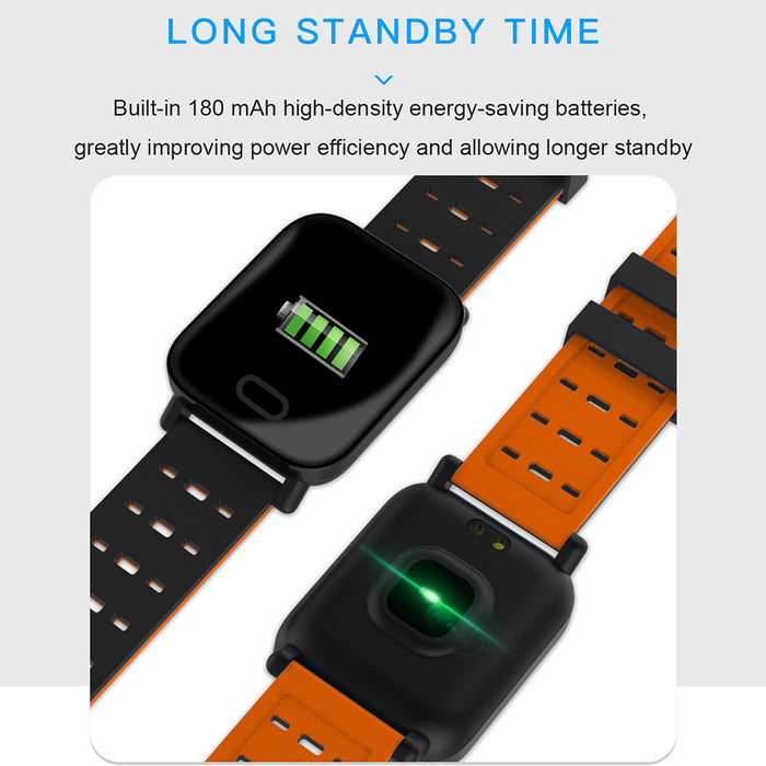 Orange Color Screen Smart Bracelet Fitness Tracker IP67 Waterproof Heart Rate Blood Pressure Monitor GPS Tracker