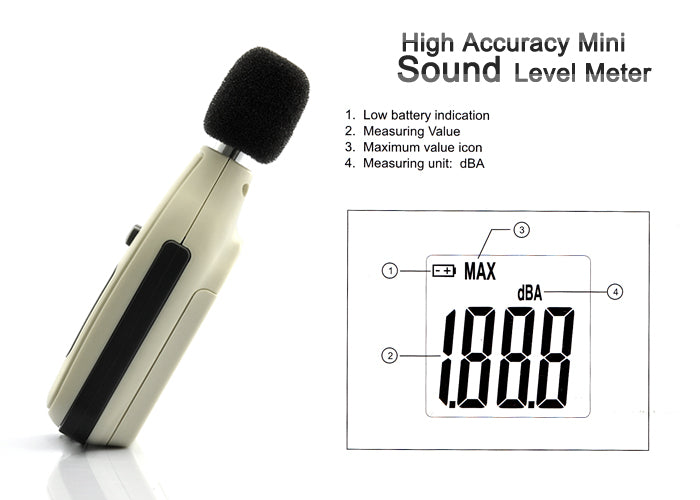 Mini Sound Level Meter - High Accuracy, 35 to 130 Decibels