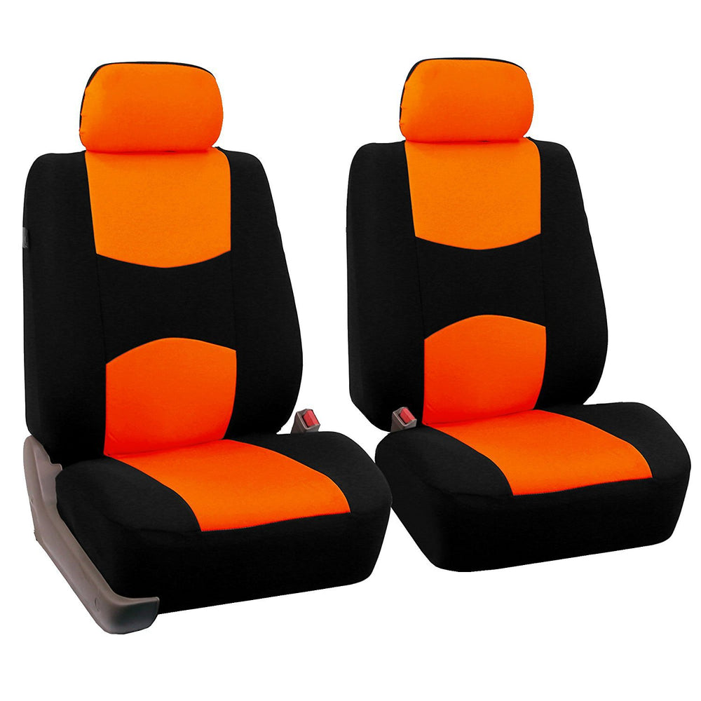 4pcs/set Universal Car Front Seat Cushion Cover + Head Cushion Cover Breathable Cloth Seat Cover Pad Set Orange