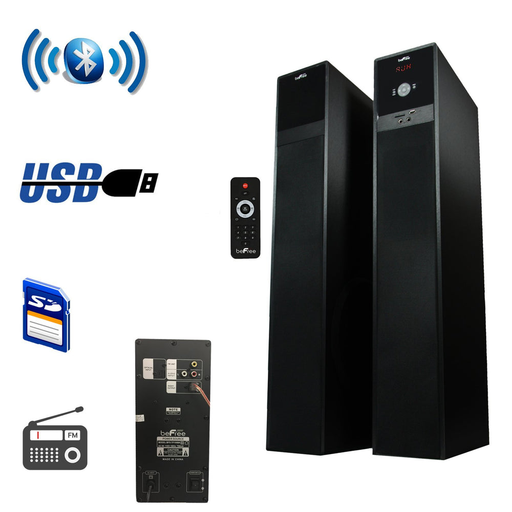 Audio & Video Gadgets beFree Sound Bluetooth Powered Tower Speakers - Brushed