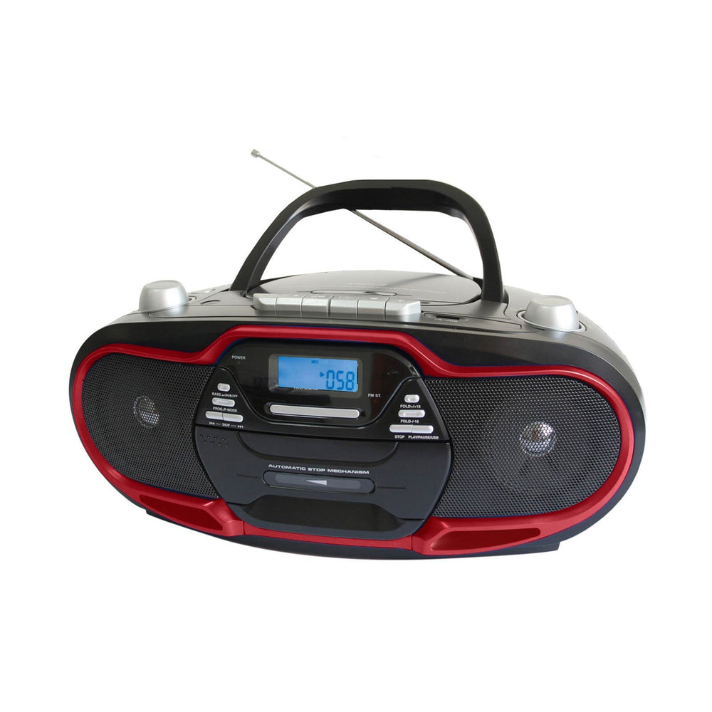 Audio & Video Gadgets Supersonic Portable MP3/CD Player with USB/AUX Inputs, Cassette Recorder & AM/FM Radio- Red