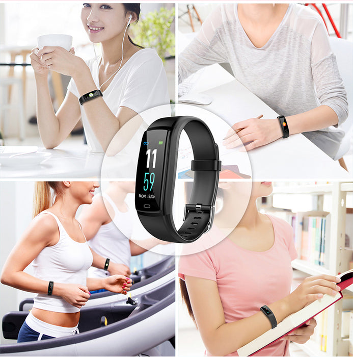 Color Screen Smart Bracelet Two-color Strap Heart Rate Blood Pressure Monitor Sports Smart Bracelet Blue