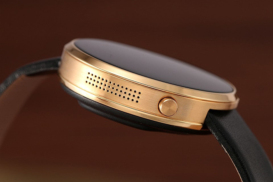 DM360 Bluetooth Watch - App Support, Bluetooth, Calls, Messages, Heart Rate Monitor, Pedometer, Sleep Monitor, 320mAh (Gold)