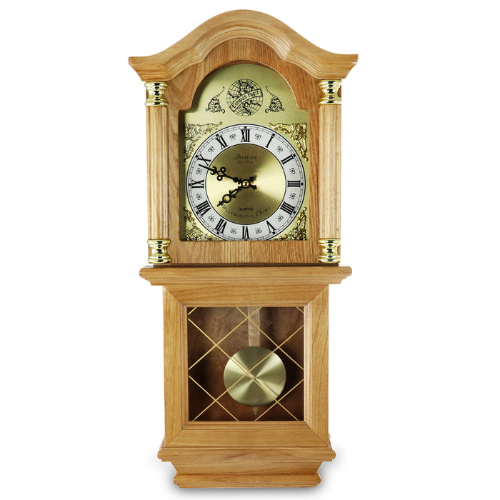 "Bedford Clock Collection Classic 26"" Golden Oak Chiming Wall Clock With Swinging Pendulum"