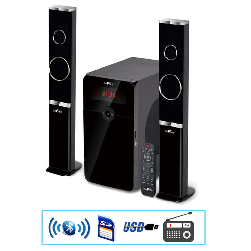 beFree Sound Home Stereo Bluetooth 2.1 Channel Multimedia Wired Speaker Shelf System with SD and USB Input
