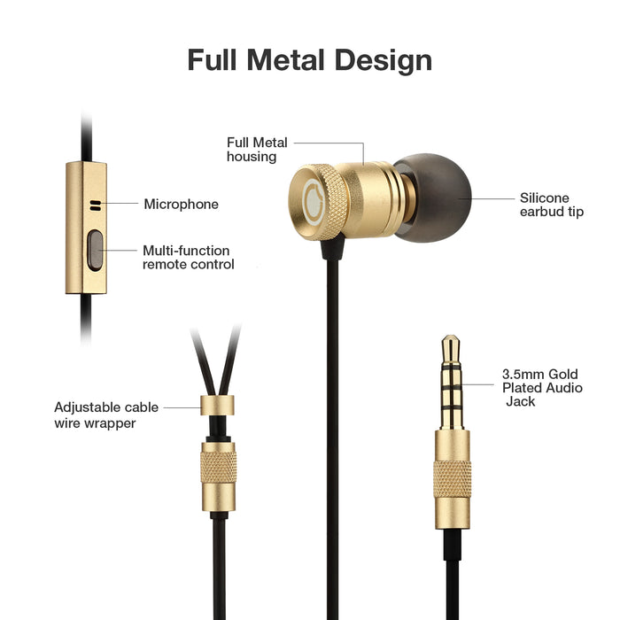 Universal Portable Stylish Metal Stereo Earbuds In-Ear Earphone