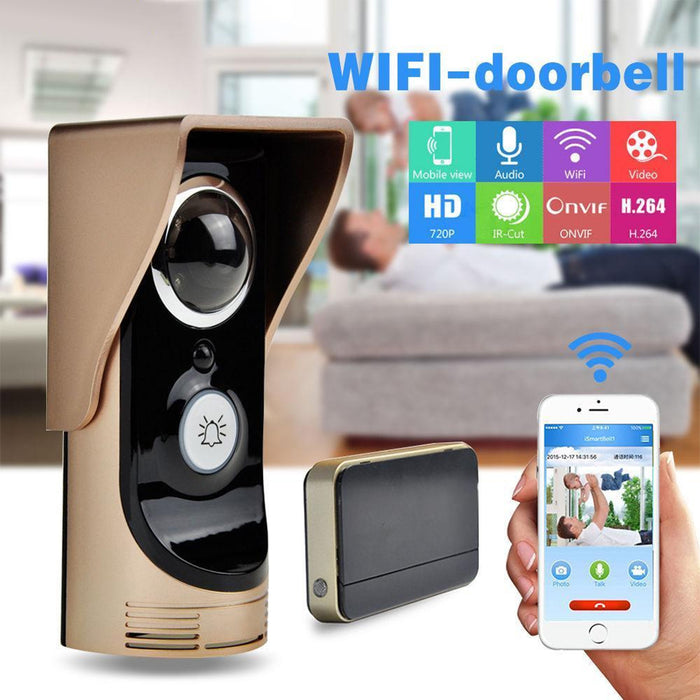 Wifi Video Audio Camera Door Bell Phone Wireless Doorbell Intercom for Android IOS Gold UK Plug