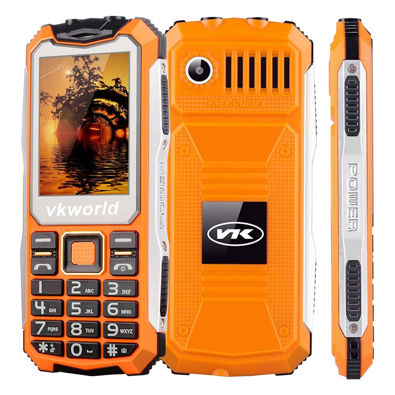 VKWorld Stone V3S Rugged Phone - IP54, 2.4 Inch display, Daul SIM, Quad Band GSM, 2200mAh Battery, Flashlight (Orange)