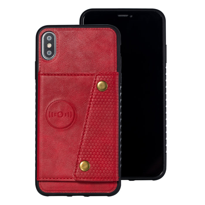 For iPhone XS Max 6.5 inch Phone Case Protective Back Cover with Card Holder Bracket, Red shell