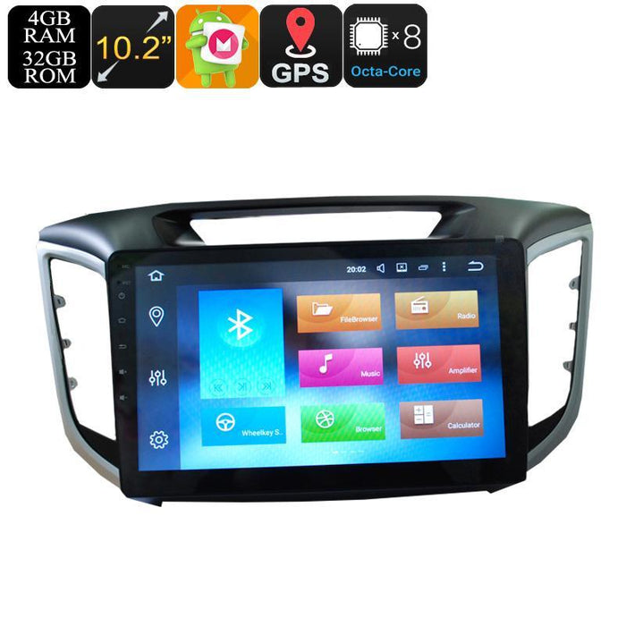Car DVD Players 10.2 Inch Display 1 DIN Car Media Player For Hyundai IX25 - Octa-Core, 3G, 4G, 4+32GB, Android 6.0, GPS, Bluetooth, Wi-Fi
