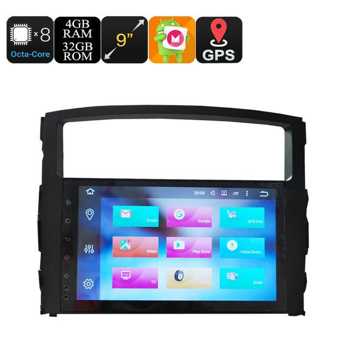 Car DVD Players 9 Inch Car Stereo One Din - Octa Core, 4+32GB, Android 6.0, GPS, WiFi, 3G Support, CAN BUS, For Mitsubishi Pajero