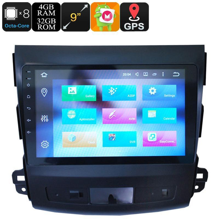 Car DVD Players 9 Inch One Din Car Stereo - Android 6.0, Octa-Core, 4+32GB, 3G, 4G, Can Bus, GPS, Bluetooth, For Mitsubishi Outlander