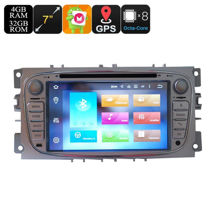Car DVD Players Ford 2 Din Car DVD Player - 7 Inch Screen, 3G, 4G, Android 6.0, Octa-Core, 4+32GB, Can Bus, Bluetooth, GPS, Wi-Fi