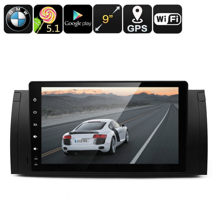 Car DVD Players Two DIN Car Media Player For BMW - 9-Inch HD Display, Android 5.1, Google Play, Quad-Core CPU, GPS, FM Radio, Bluetooth, Wi-Fi
