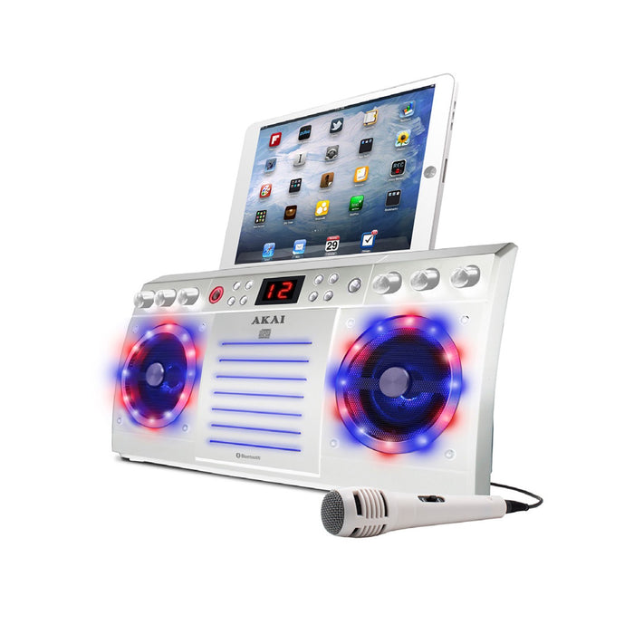 Cheap & Cool Gadgets Akai Bluetooth CD+G Karaoke Machine with Built-in Speakers, Light Effects & iPad/ Tablet Cradle in White