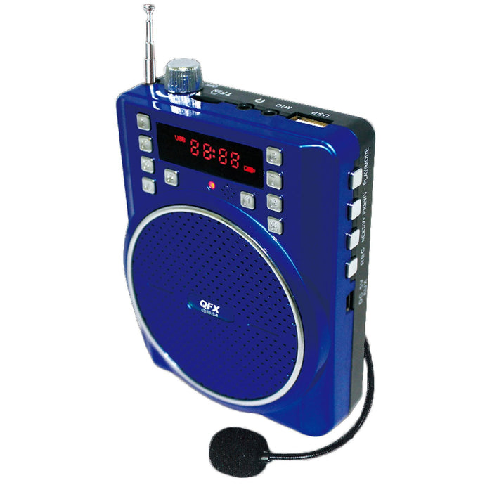 Cheap & Cool Gadgets QFX Portable Battery Powered PA Speaker- Blue