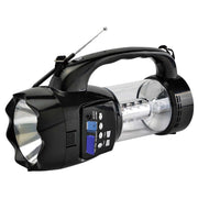 QFX Emergency Flashlight/Lantern with FM Radio USB/SD and Recording Built-in Rechargeable Battery- Black