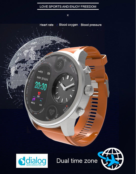Sport Smart Watch Stainless Steel Fitness Activity Tracker IP68 Waterproof Smartwatch Silver&Orange