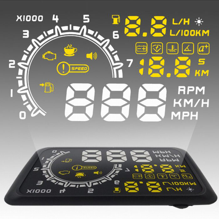 "5.5"" W02 HUD Car Head Up Display OBDII KMH MPH Voltage Speed Warning Speedometer"