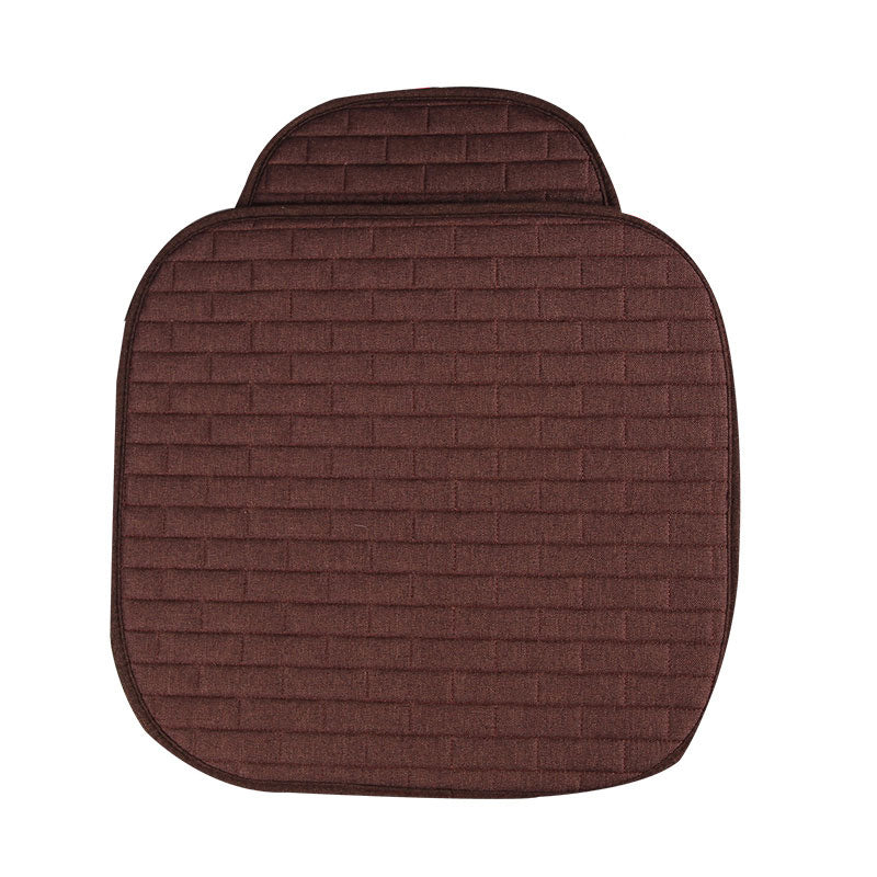 Breathable Flax Car Front Seat Cushion Car Interior Seat Cover Cushion Pad for Auto Supplies Brown 2pcs