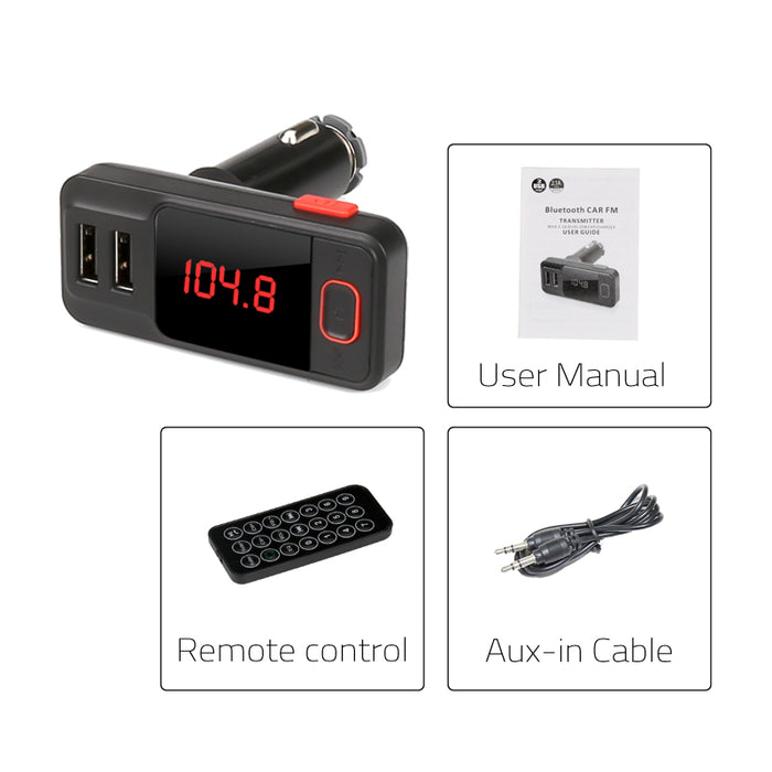 Bluetooth Car FM Transmitter - 87.5 To 108 MHz, 10 Meter Range, Remote Control, Micro SD Slot,  2x USB