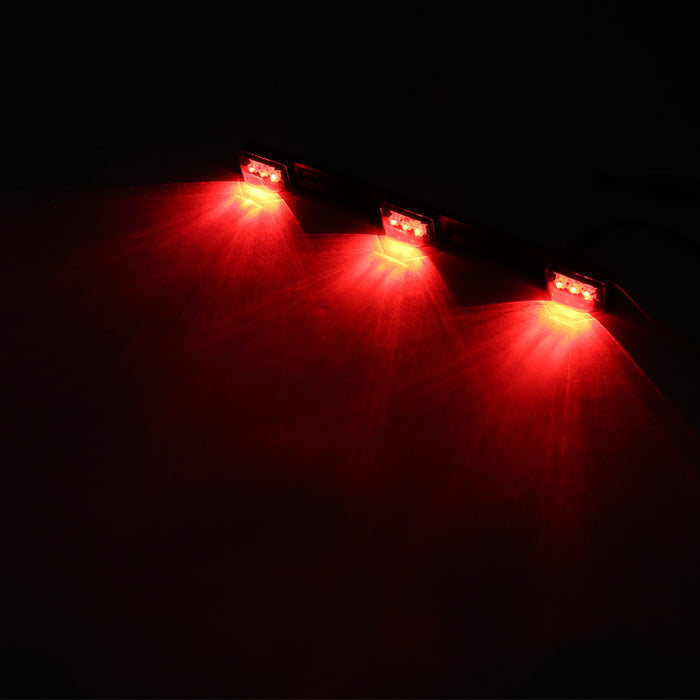 12V Red Light Beads Stainless Steel 9 LEDs Bar Strip Light Lamp with Transparent Shell