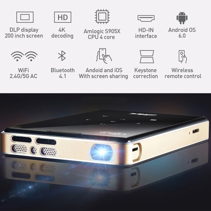 Amlogic Mini Projector Wireless Pocket Media Player Outgoing Camping Travel Home Theater Projector 2+16G (European regulations)