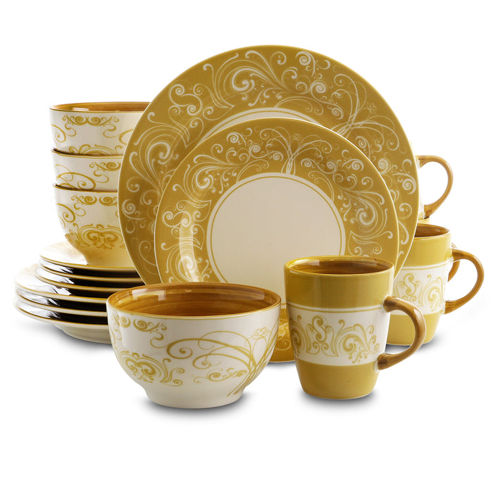 Elama Parisian Swirl 16 Piece Dinnerware Set