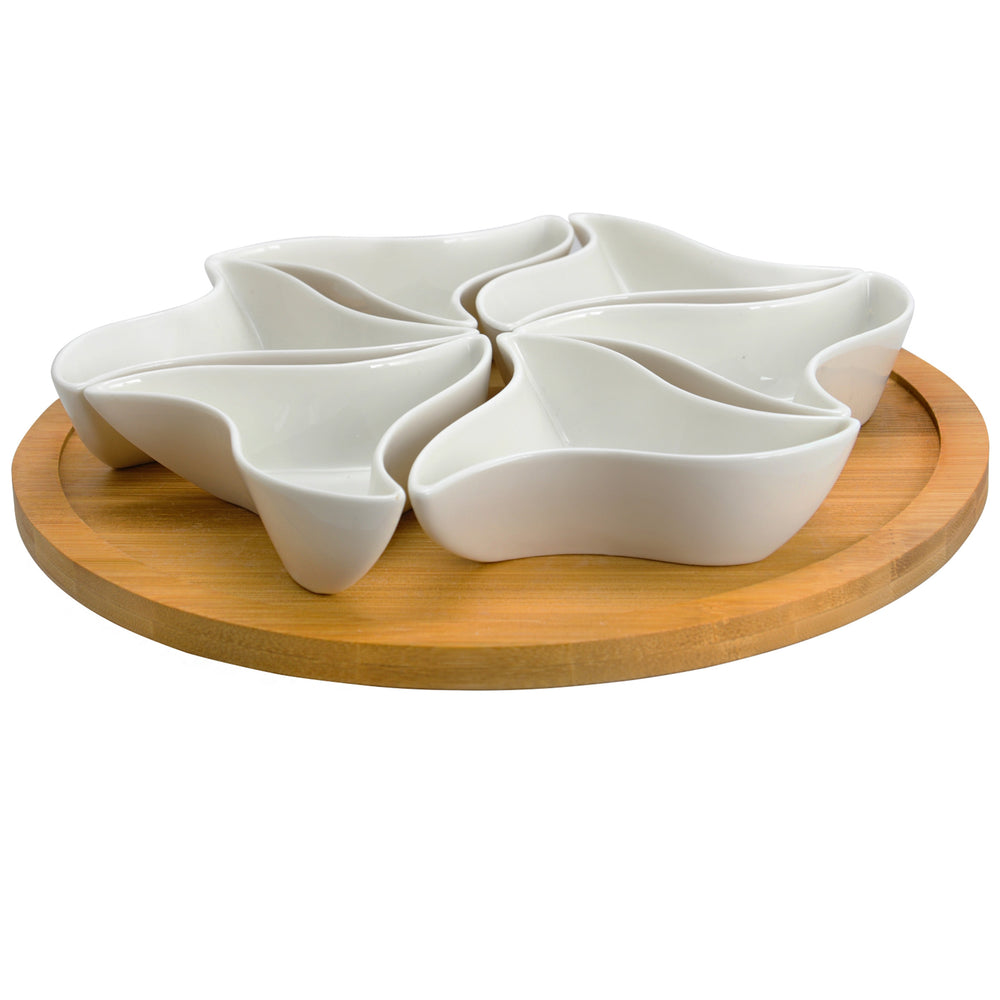 Elama Signature Modern 10.75 Inch 7pc Lazy Susan Appetizer and Condiment Server Set   with 6 Unique Design Serving Dishes and a Bamboo Lazy Suzan Serving Tray