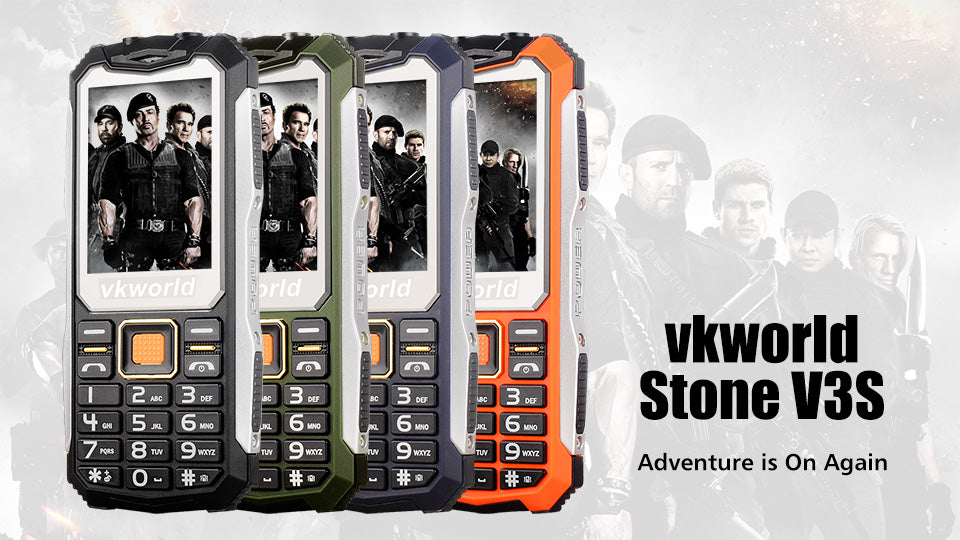 VKWorld Stone V3S Rugged Phone 2 Card Slots 2.4 Inch Display
