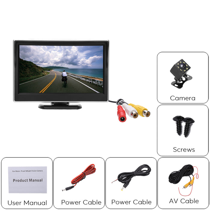 Rearview Backup Parking Camera Kit - 1/4 Inch Color CMOS, IP67 Camera, 5 Inch Display, Nigh Vision, 120 Degree Lens
