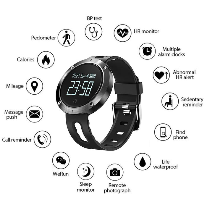 DM58 0.95 Inch Round Display Screen Smart Bracelet Heart Rate Monitor Sport Wristband Fitness Tracker Smartband Black