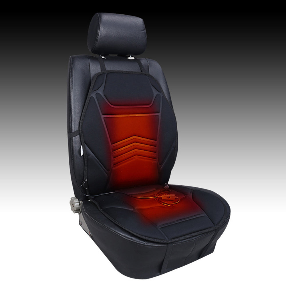 Black Wave Universal Car Van Heated Seat Cushion Cover 12V Heating Heater Warmer Pad Winter