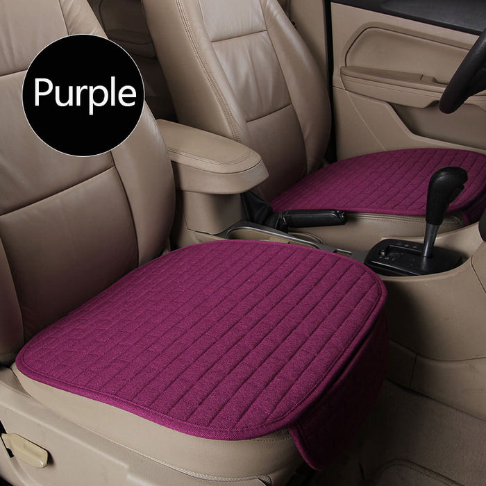 Breathable Flax Car Front Seat Cushion Car Interior Seat Cover Cushion Pad for Auto Supplies Purple 2pcs
