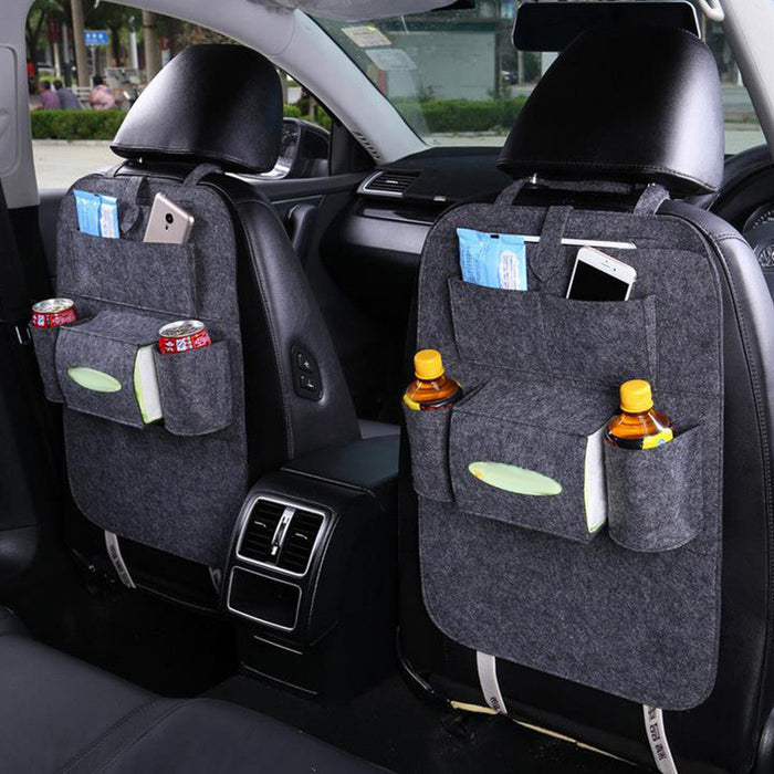 Multifunctional Car Back Seat Storage Bag Backrest Pockets Protector Organizer Auto Accessories -2