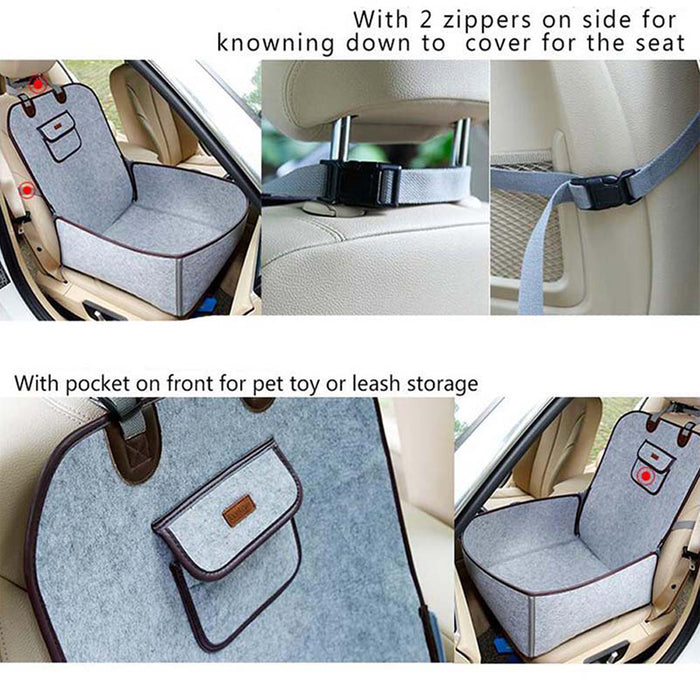 Gray Creative Pet Car Seat Cover Puppy Basket Pet Carrier Protector Pet Supplies