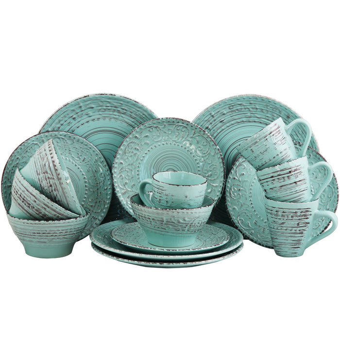 Home Elama Malibu Waves 16-Piece Dinnerware Set in Turquoise