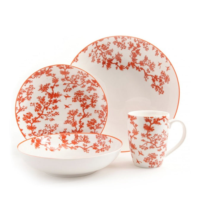 Home Florence Broadhurst The Cranes 4 Piece Place Setting, Coral